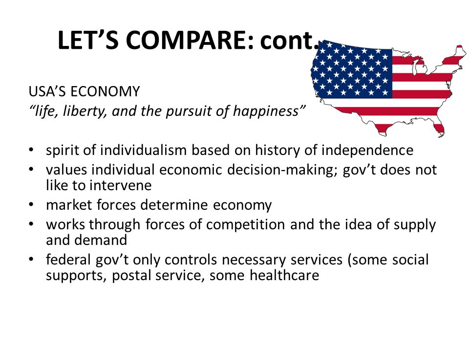 "LET'S COMPARE: cont. USA'S ECONOMY ""life, liberty, and the pursuit of happiness"" spirit of individualism based on history of independence values indiv"