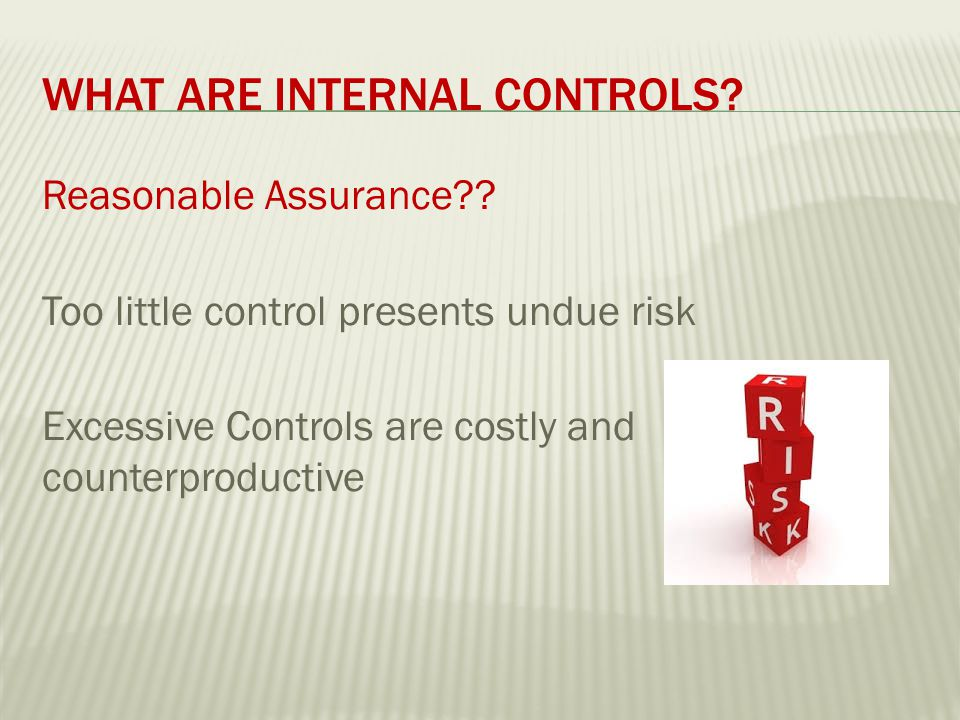 RISK ASSESSMENT Recognizing potential problems and ensuring there are procedures to deal with them.