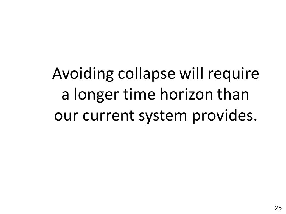 25 Avoiding collapse will require a longer time horizon than our current system provides.