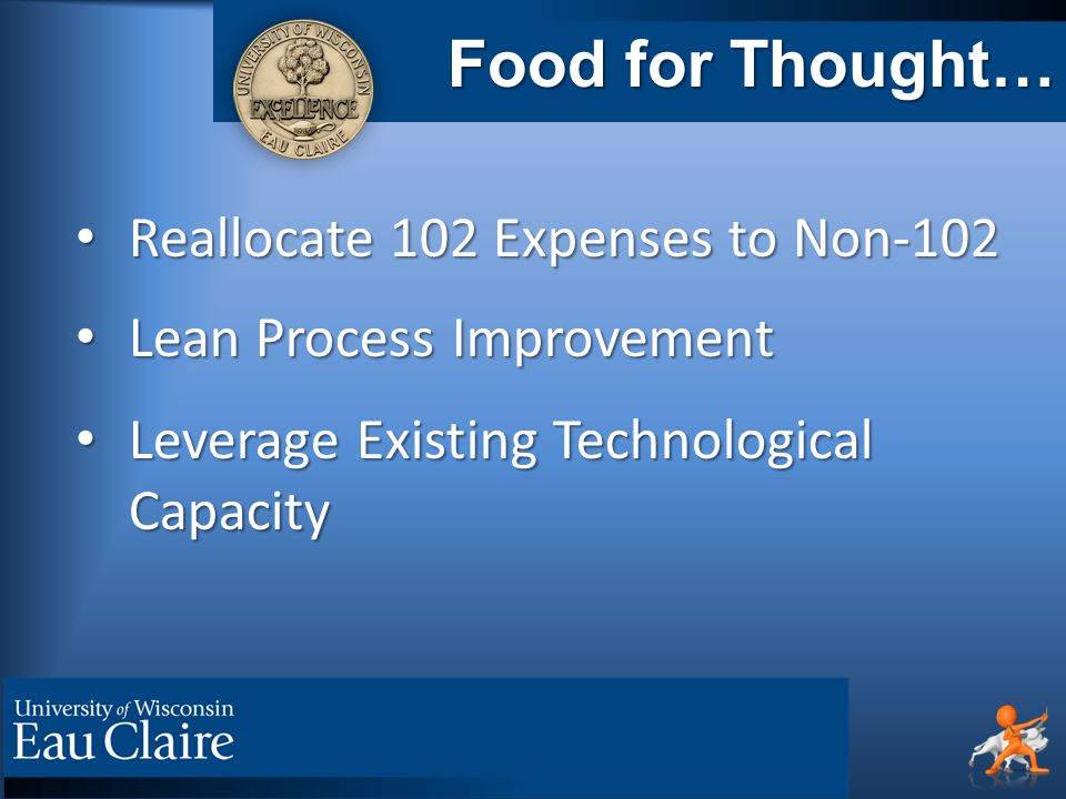 Food for Thought… Reallocate 102 Expenses to Non-102 Reallocate 102 Expenses to Non-102 Lean Process Improvement Lean Process Improvement Leverage Existing Technological Capacity Leverage Existing Technological Capacity