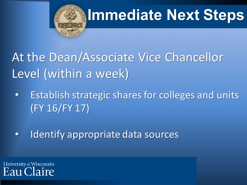 Immediate Next Steps At the Dean/Associate Vice Chancellor At the Dean/Associate Vice Chancellor Level (within a week) Level (within a week) Establish strategic shares for colleges and units (FY 16/FY 17) Establish strategic shares for colleges and units (FY 16/FY 17) Identify appropriate data sources Identify appropriate data sources