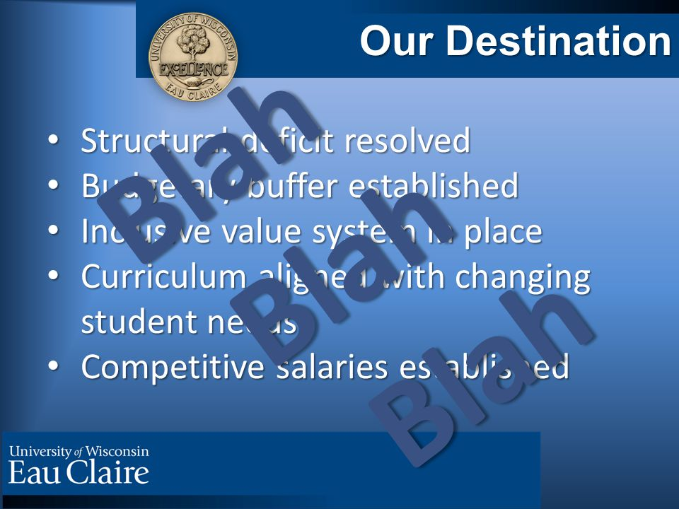 Our Destination Structural deficit resolved Structural deficit resolved Budgetary buffer established Budgetary buffer established Inclusive value system in place Inclusive value system in place Curriculum aligned with changing student needs Curriculum aligned with changing student needs Competitive salaries established Competitive salaries established Blah Blah Blah