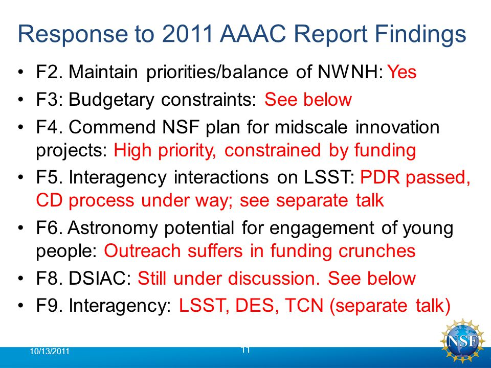 Response to 2011 AAAC Report Findings F2.