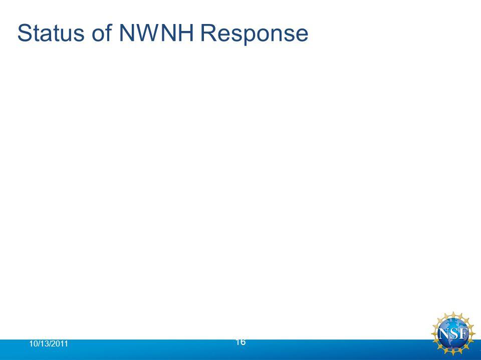 Status of NWNH Response 16 10/13/2011