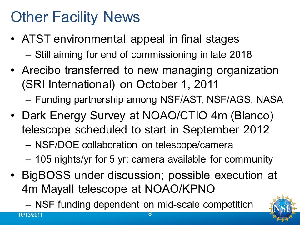 NWNH Existence Proof Ramp 19 10/13/2011 GSMT Ops > $100M gap for optimistic case implies that none of this can be done without extensive reductions in current programs LSST Ops Mid-Scale CCAT AAG