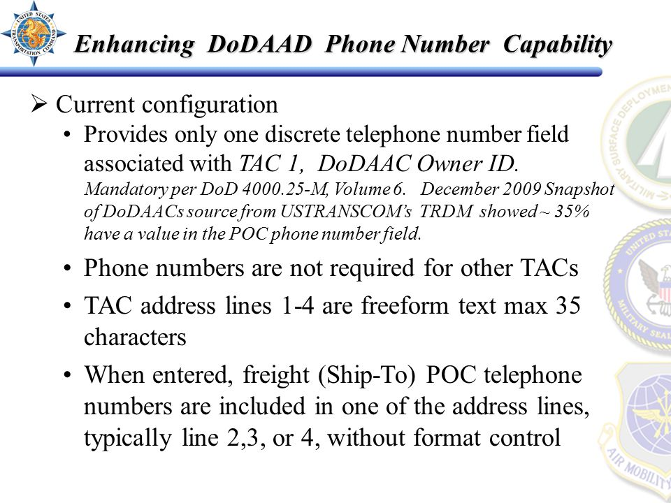  Current configuration Provides only one discrete telephone number field associated with TAC 1, DoDAAC Owner ID.