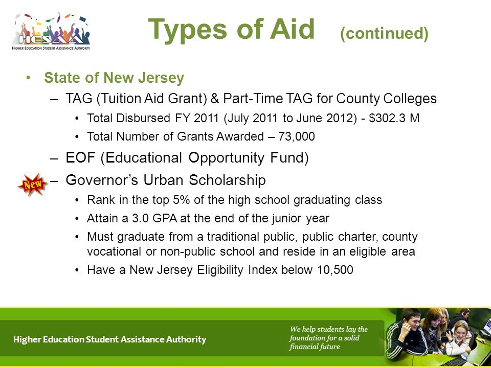 Higher Education Student Assistance Authority Types of Aid (continued) State of New Jersey –TAG (Tuition Aid Grant) & Part-Time TAG for County College