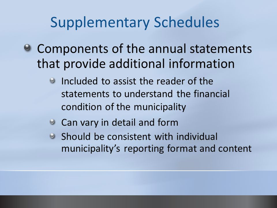 Components of the annual statements that provide additional information Included to assist the reader of the statements to understand the financial condition of the municipality Can vary in detail and form Should be consistent with individual municipality's reporting format and content Supplementary Schedules