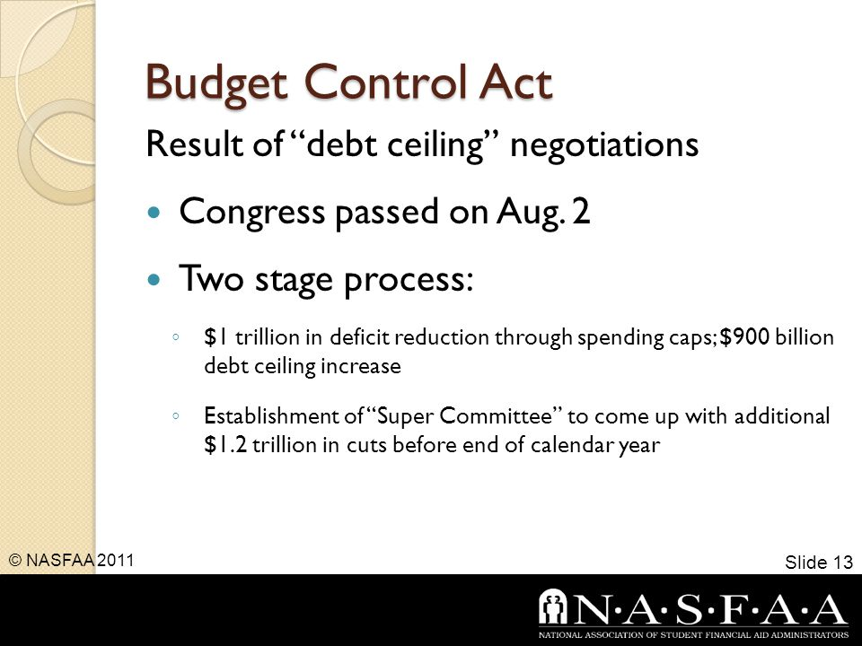 Budget Control Act Result of debt ceiling negotiations Congress passed on Aug.
