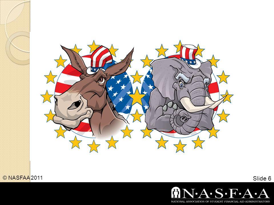 Budget, Budget, Budget Slide 7 © NASFAA 2011 Deficit Reduction FY 2011FY 2012 Debt Ceiling