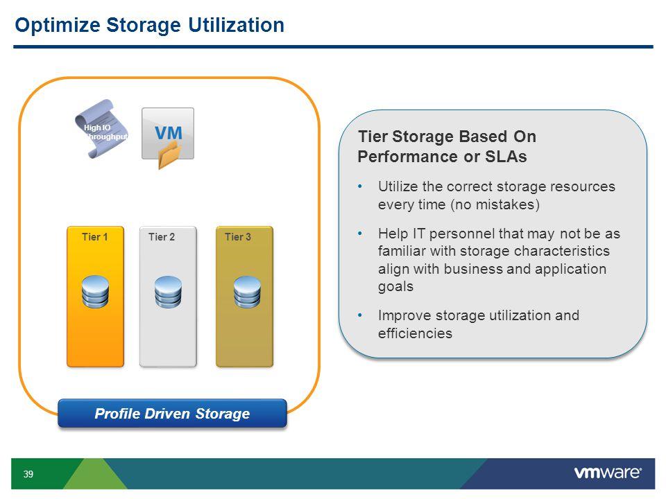 39 Optimize Storage Utilization Tier 1 Tier 2Tier 3 High IO Throughput Profile Driven Storage Tier Storage Based On Performance or SLAs Utilize the co