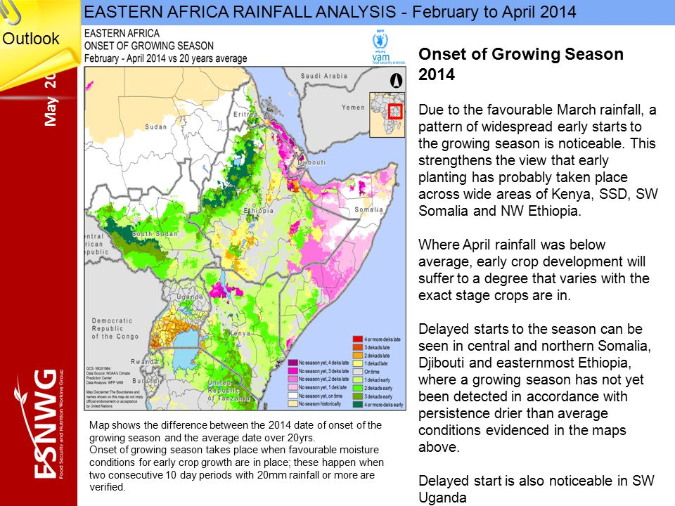 May 2014 EASTERN AFRICA RAINFALL ANALYSIS - February to April 2014 Onset of Growing Season 2014 Due to the favourable March rainfall, a pattern of widespread early starts to the growing season is noticeable.