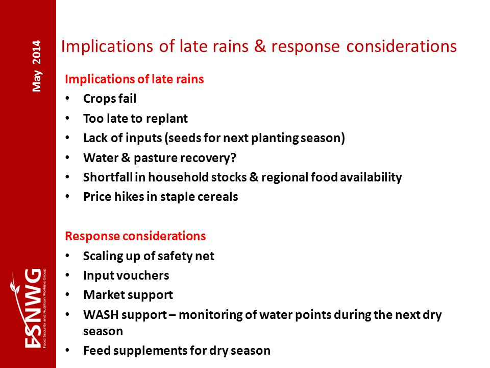 Implications of late rains & response considerations Implications of late rains Crops fail Too late to replant Lack of inputs (seeds for next planting season) Water & pasture recovery.