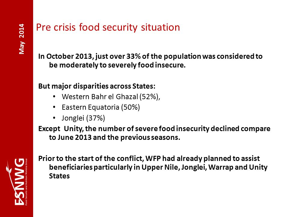 May 2014 Pre crisis food security situation In October 2013, just over 33% of the population was considered to be moderately to severely food insecure.