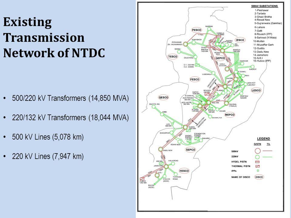 Existing Transmission Network of NTDC 500/220 kV Transformers (14,850 MVA) 220/132 kV Transformers (18,044 MVA) 500 kV Lines (5,078 km) 220 kV Lines (7,947 km)