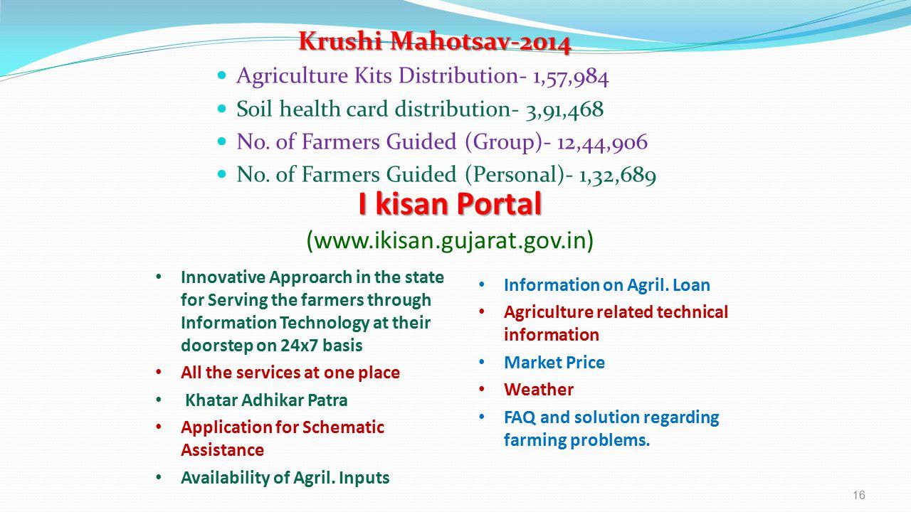 Krushi Mahotsav-2014 Krushi Mahotsav-2014 Agriculture Kits Distribution- 1,57,984 Soil health card distribution- 3,91,468 No.