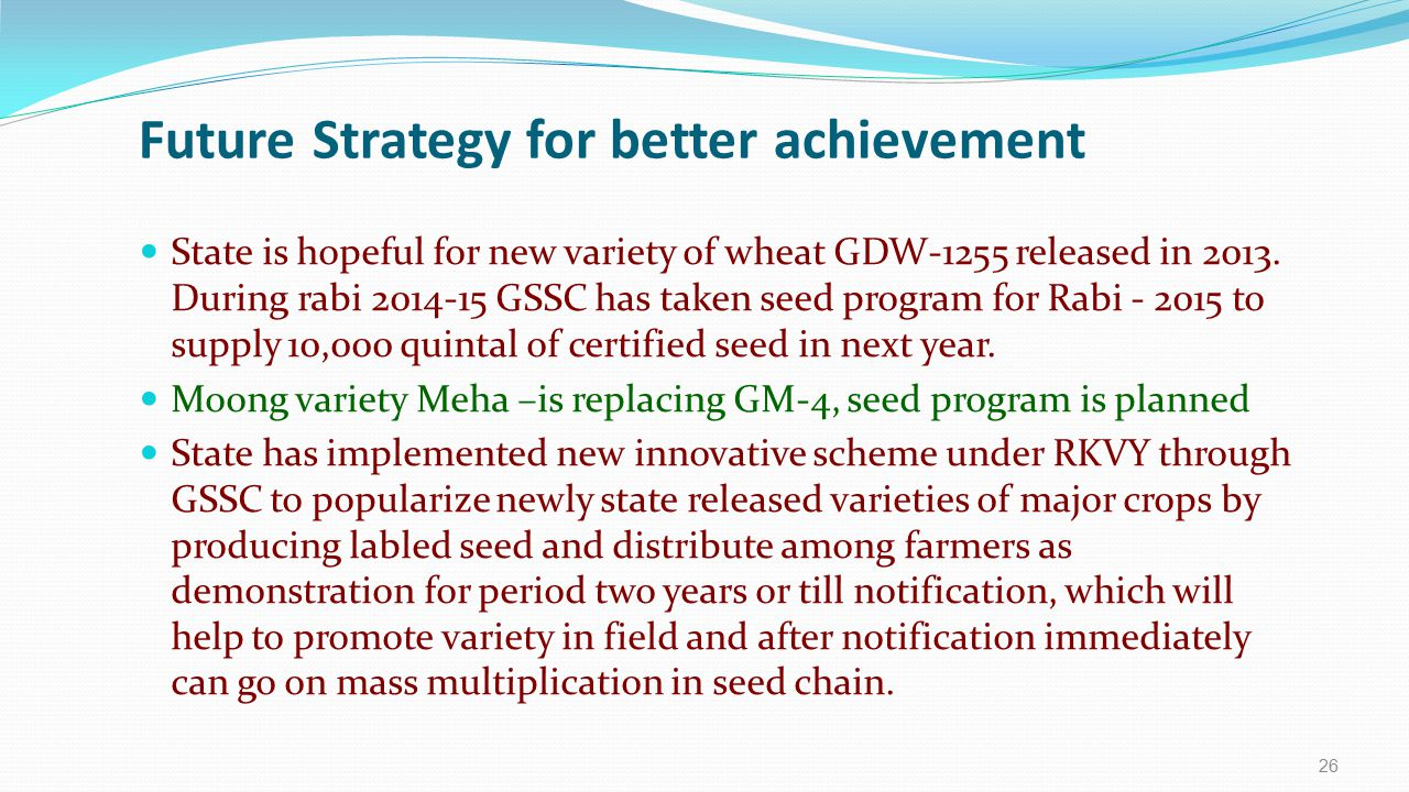Future Strategy for better achievement State is hopeful for new variety of wheat GDW-1255 released in 2013. During rabi 2014-15 GSSC has taken seed pr