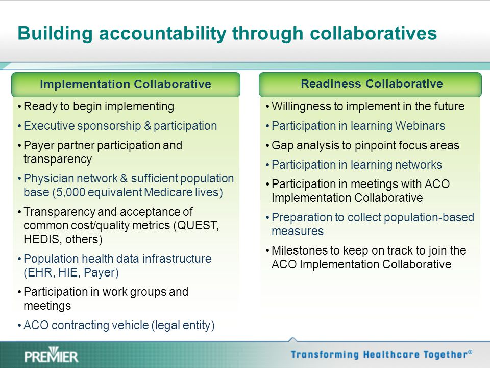 Building accountability through collaboratives Implementation Collaborative Ready to begin implementing Executive sponsorship & participation Payer pa