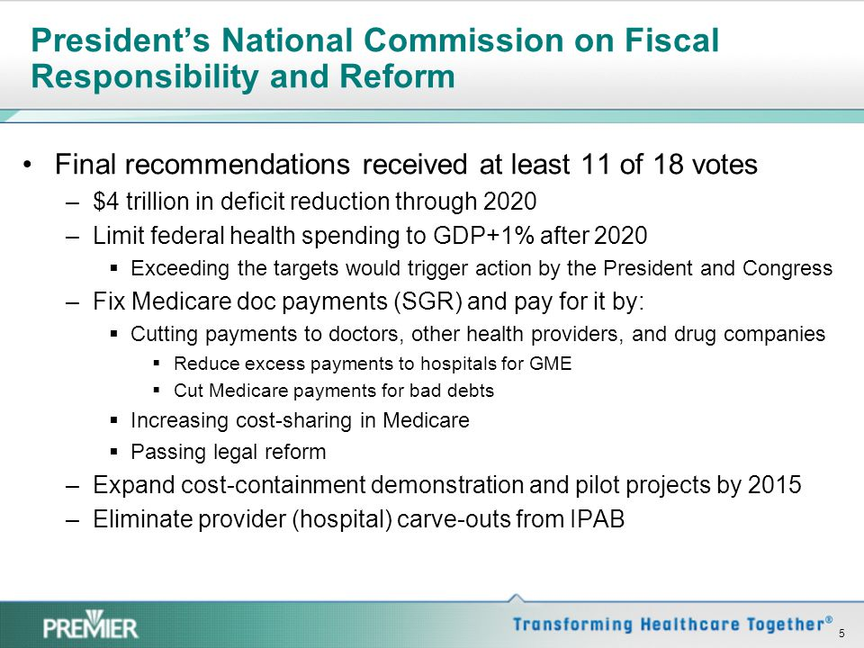 President's National Commission on Fiscal Responsibility and Reform Final recommendations received at least 11 of 18 votes –$4 trillion in deficit red