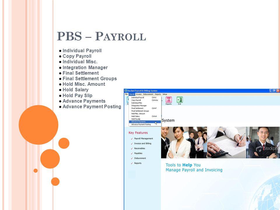 PBS – P AYROLL Individual Payroll Copy Payroll Individual Misc.