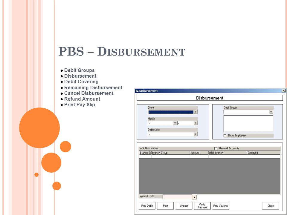 PBS – D ISBURSEMENT Debit Groups Disbursement Debit Covering Remaining Disbursement Cancel Disbursement Refund Amount Print Pay Slip