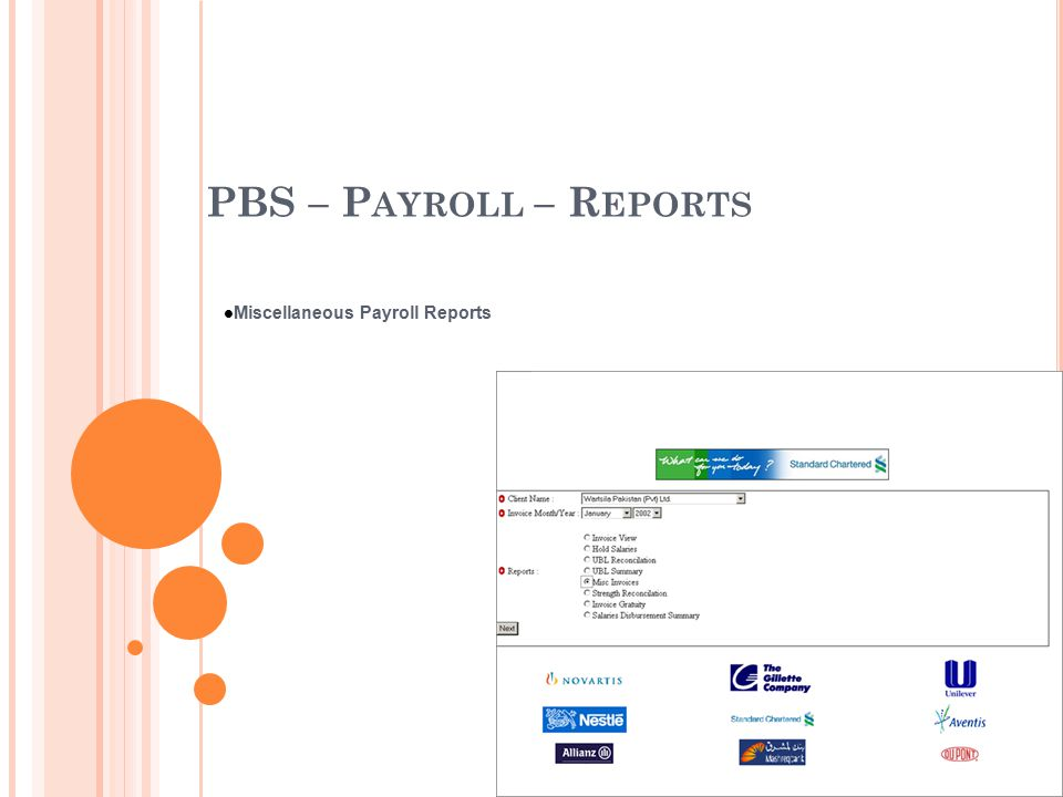 PBS – P AYROLL – R EPORTS Miscellaneous Payroll Reports