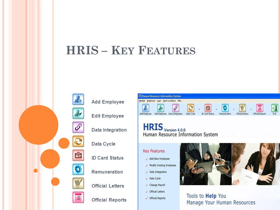 HRIS – K EY F EATURES Add Employee Edit Employee Remuneration Data Integration Data Cycle ID Card Status Official Letters Official Reports