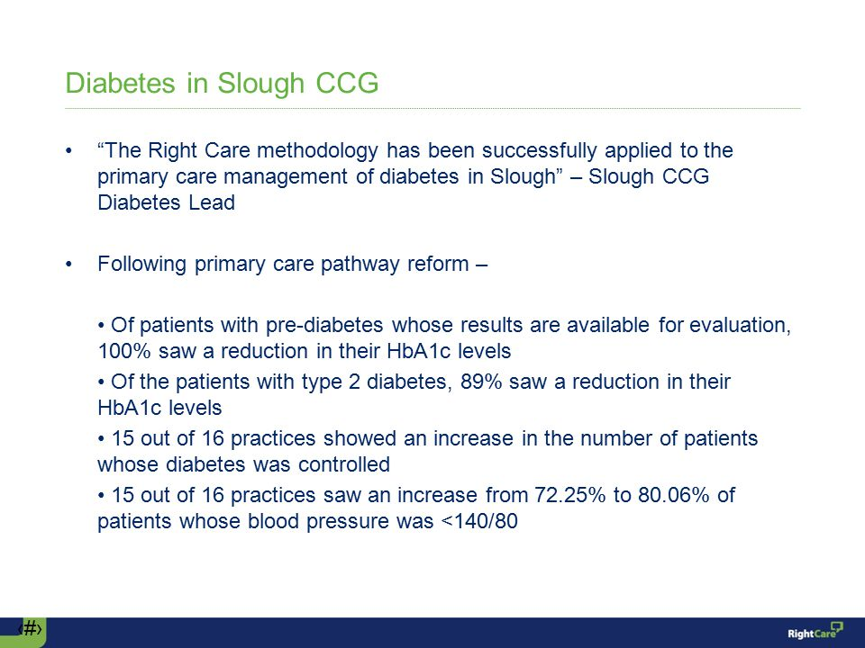‹#› Diabetes in Slough CCG The Right Care methodology has been successfully applied to the primary care management of diabetes in Slough – Slough CCG Diabetes Lead Following primary care pathway reform – Of patients with pre-diabetes whose results are available for evaluation, 100% saw a reduction in their HbA1c levels Of the patients with type 2 diabetes, 89% saw a reduction in their HbA1c levels 15 out of 16 practices showed an increase in the number of patients whose diabetes was controlled 15 out of 16 practices saw an increase from 72.25% to 80.06% of patients whose blood pressure was <140/80