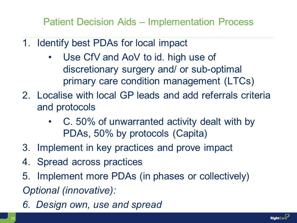 22 Patient Decision Aids – Implementation Process 1.Identify best PDAs for local impact Use CfV and AoV to id.