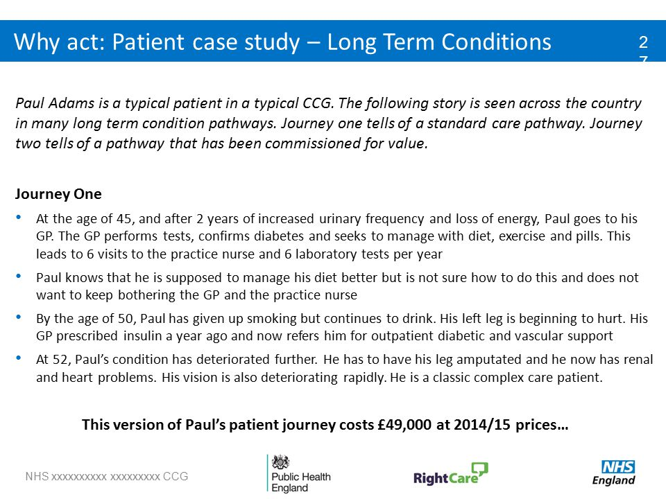 NHS xxxxxxxxxx xxxxxxxxx CCG Why act: Patient case study – Long Term Conditions Paul Adams is a typical patient in a typical CCG.