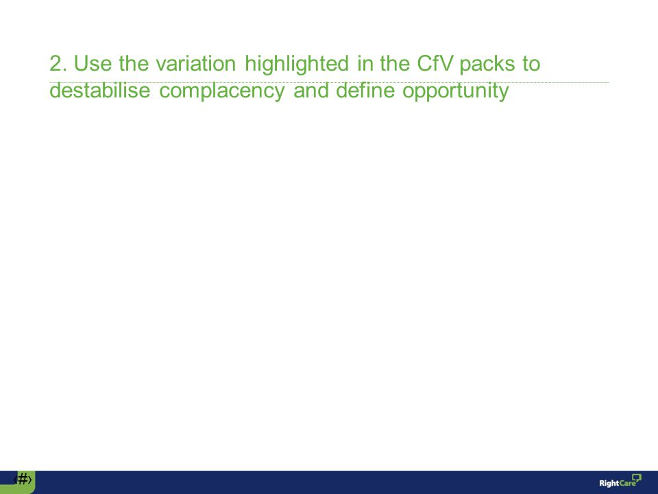 ‹#› 2. Use the variation highlighted in the CfV packs to destabilise complacency and define opportunity