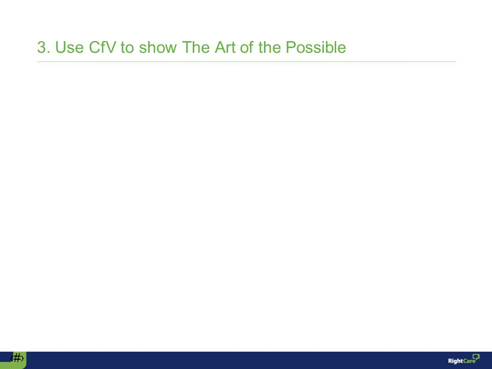 ‹#› 3. Use CfV to show The Art of the Possible