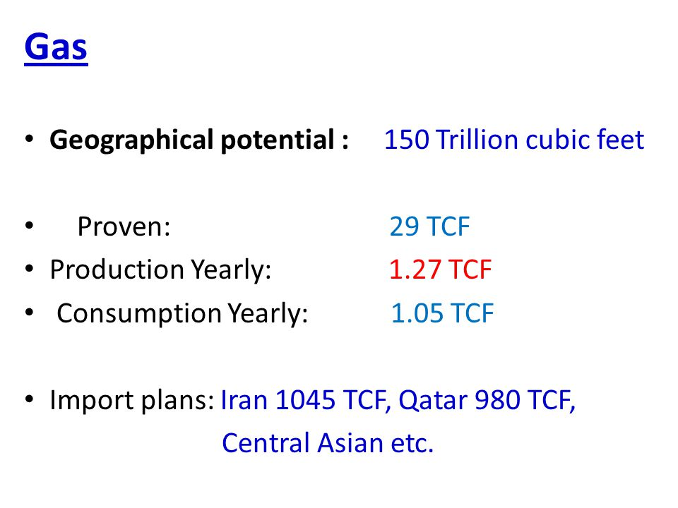 Gas Geographical potential : 150 Trillion cubic feet Proven: 29 TCF Production Yearly: 1.27 TCF Consumption Yearly: 1.05 TCF Import plans: Iran 1045 TCF, Qatar 980 TCF, Central Asian etc.