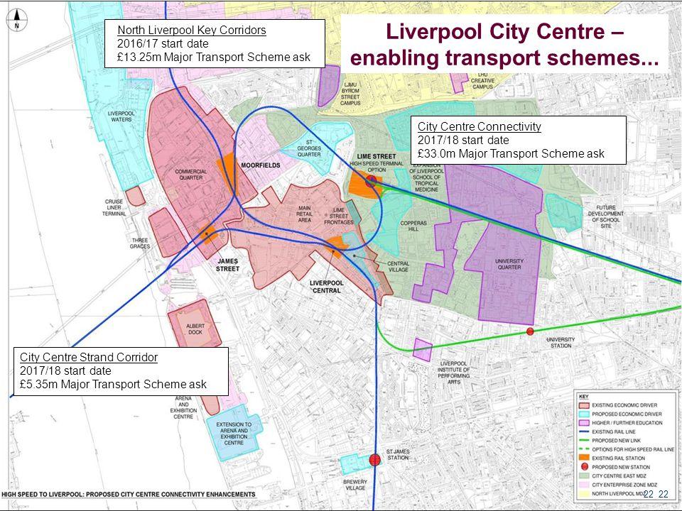22 Liverpool City Centre – enabling transport schemes... City Centre Strand Corridor 2017/18 start date £5.35m Major Transport Scheme ask North Liverp