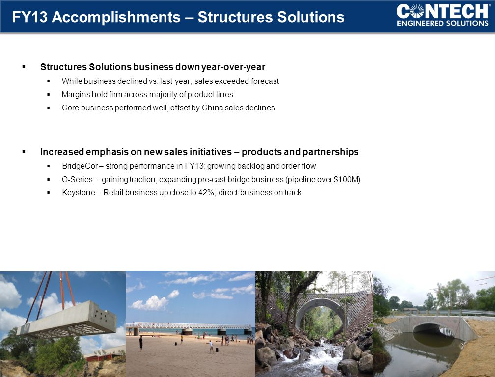  Structures Solutions business down year-over-year  While business declined vs.