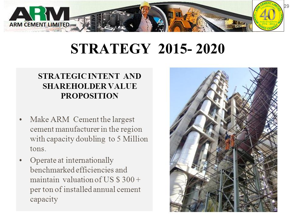 STRATEGY 2015- 2020 STRATEGIC INTENT AND SHAREHOLDER VALUE PROPOSITION Make ARM Cement the largest cement manufacturer in the region with capacity doubling to 5 Million tons.