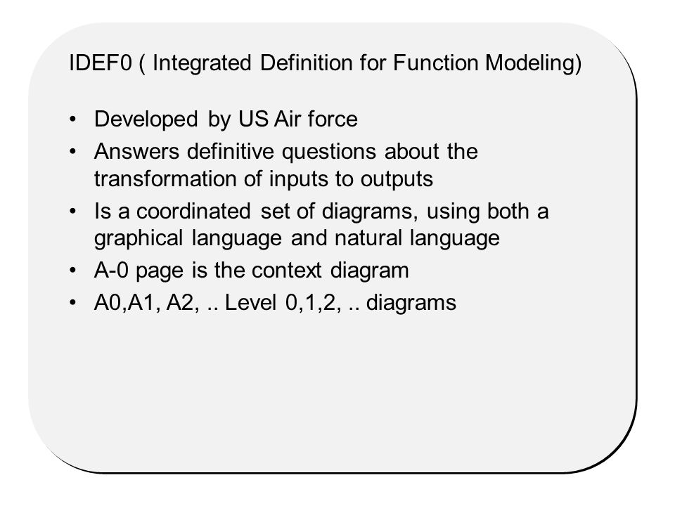 Developed by US Air force Answers definitive questions about the transformation of inputs to outputs Is a coordinated set of diagrams, using both a graphical language and natural language A-0 page is the context diagram A0,A1, A2,..
