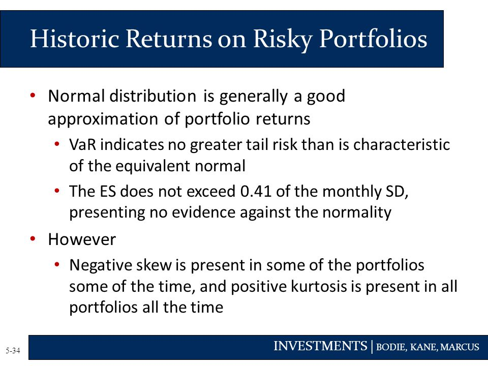 INVESTMENTS | BODIE, KANE, MARCUS 5-34 Normal distribution is generally a good approximation of portfolio returns VaR indicates no greater tail risk than is characteristic of the equivalent normal The ES does not exceed 0.41 of the monthly SD, presenting no evidence against the normality However Negative skew is present in some of the portfolios some of the time, and positive kurtosis is present in all portfolios all the time Historic Returns on Risky Portfolios