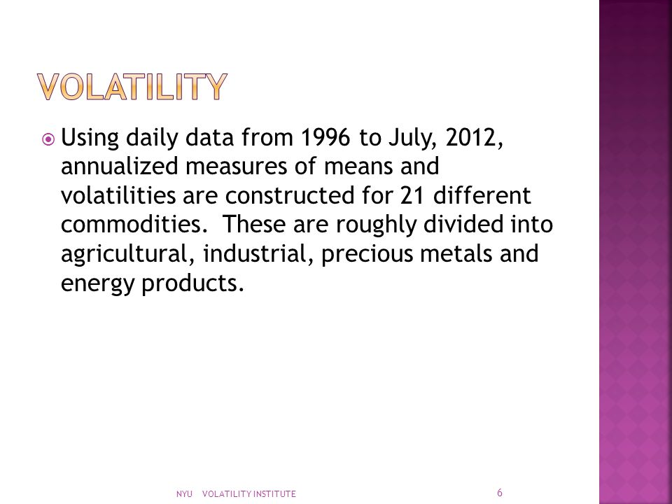  Using daily data from 1996 to July, 2012, annualized measures of means and volatilities are constructed for 21 different commodities. These are roug