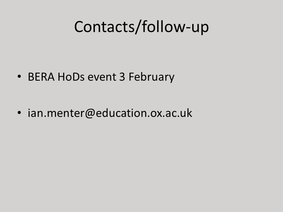 Contacts/follow-up BERA HoDs event 3 February ian.menter@education.ox.ac.uk