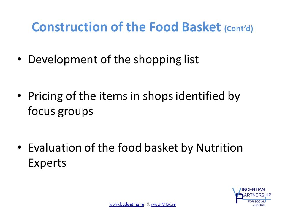Construction of the Food Basket (Cont'd) Development of the shopping list Pricing of the items in shops identified by focus groups Evaluation of the food basket by Nutrition Experts www.budgeting.iewww.budgeting.ie & www.MISc.iewww.MISc.ie
