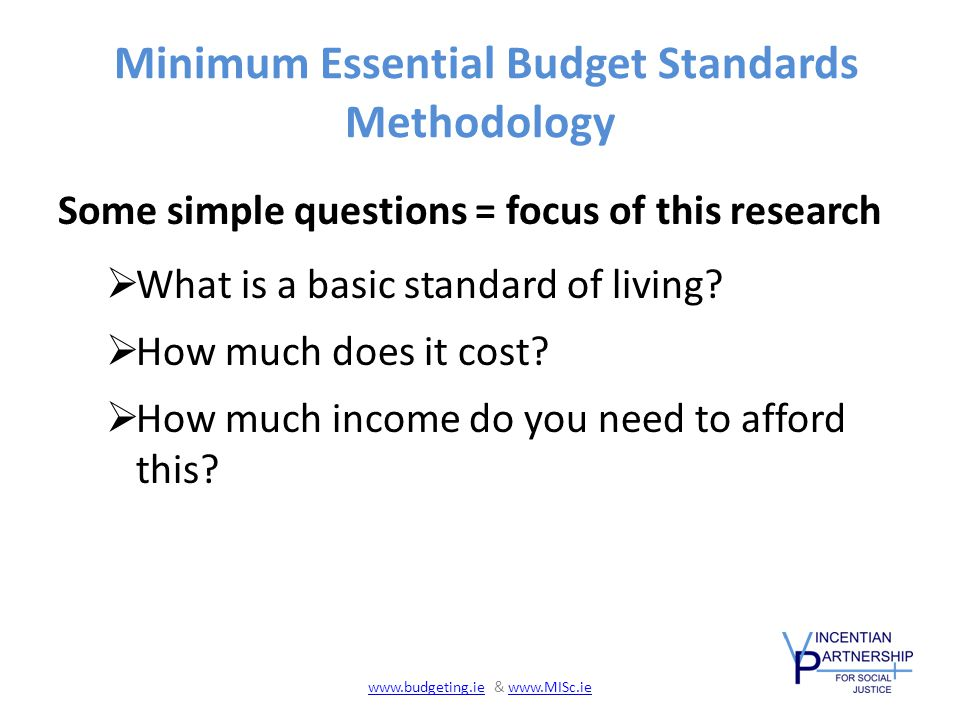 Minimum Essential Budget Standards Methodology Some simple questions = focus of this research  What is a basic standard of living.