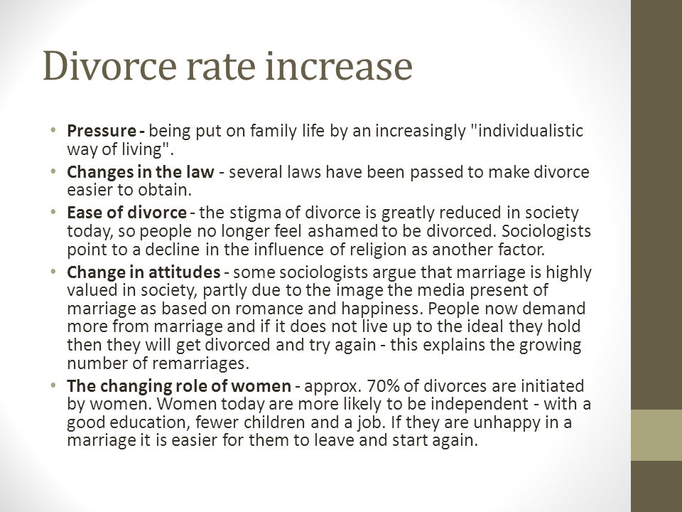 Divorce rate increase Pressure - being put on family life by an increasingly individualistic way of living .