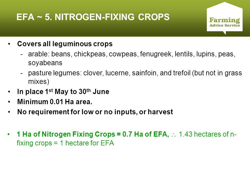 Click to edit Master title style EFA ~ 5. NITROGEN-FIXING CROPS Covers all leguminous crops -arable: beans, chickpeas, cowpeas, fenugreek, lentils, lu
