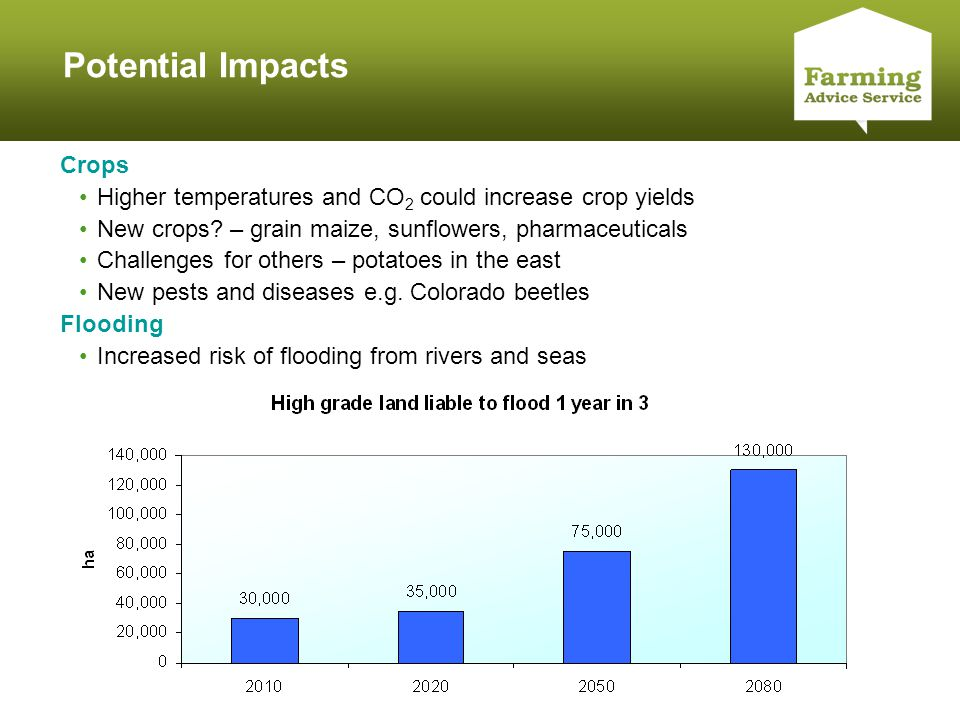 Click to edit Master title style Potential Impacts Crops Higher temperatures and CO 2 could increase crop yields New crops.