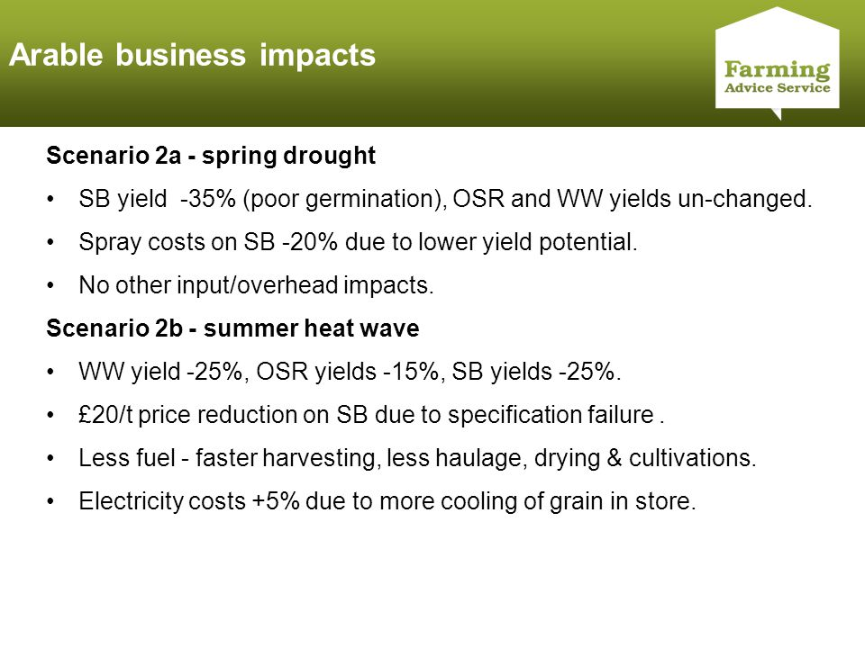 Click to edit Master title style Arable business impacts Scenario 2a - spring drought SB yield -35% (poor germination), OSR and WW yields un-changed.
