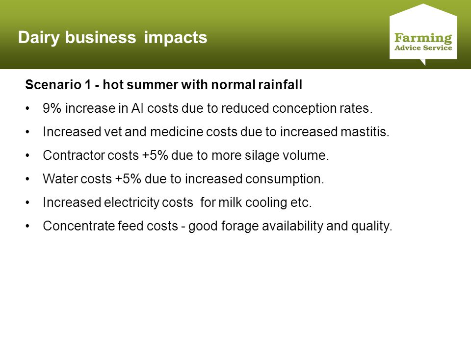 Click to edit Master title style Dairy business impacts Scenario 1 - hot summer with normal rainfall 9% increase in AI costs due to reduced conception