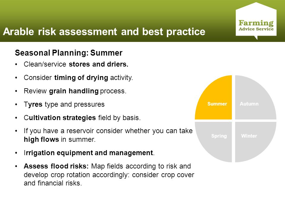 Click to edit Master title style Arable risk assessment and best practice Summer Autumn WinterSpring Seasonal Planning: Summer Clean/service stores an