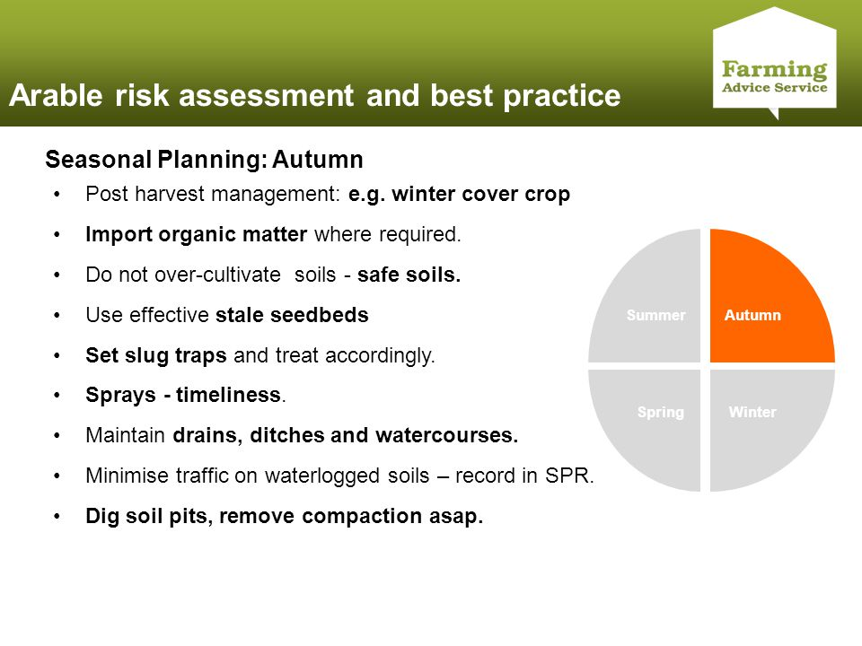 Click to edit Master title style Arable risk assessment and best practice Summer Autumn WinterSpring Seasonal Planning: Autumn Post harvest management: e.g.