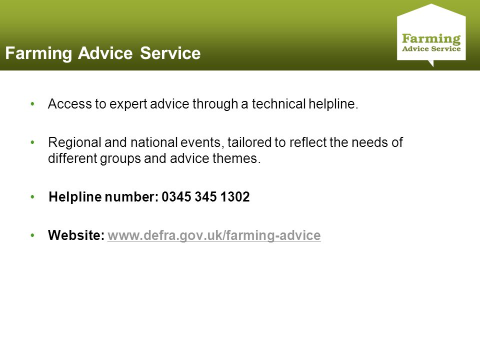 Click to edit Master title style Farming Advice Service Access to expert advice through a technical helpline.